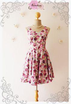 783bcb26614 Rose Swing Dress Summer Dress Dancing Dress Mini Dress Tea Party Dress  Vintage Style Dress Pale