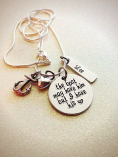 Custom Hand Stamped Boat / Marine / Coast Guard Wife or Girfriend necklace by GabbieGoodies, $24.00