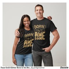 Faux Gold Glitter Born to be Awesome Lettering T-Shirt Girl Birthday Themes, Girl Themes, 3rd Birthday, Frog T Shirts, Boys T Shirts, Gifts For Librarians, Proud Dad, Baby Shark, Off Duty