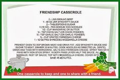 Mommy's Kitchen - Old Fashioned & Southern Style Cooking: Friendship Casserole {Share Dinner with a Friend}