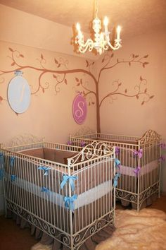 Twins Baby Nursery for Boy and Girl Shared Nursery Room. Luxurious baby nurseries and children's rooms designed by celebrity nursery designer, Sherri Blum, CID.