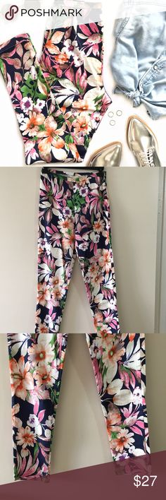 """NWT High Waisted Floral Trousers NWT. Side hook/eye and zip closure. 97% cotton, 3% spandex. These can be considered trousers/pants or leggings. Length: 37.5"""" Waist: 12"""" (laying flat) Inseam: 28"""" Purchased at A'gaci but the brand is Mustard Seed. a'gaci Pants Skinny"""