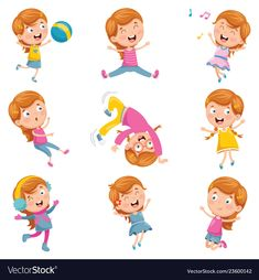 Of little girl playing vector image on VectorStock Free Vector Graphics, Free Vector Images, Yoga For Kids, Art For Kids, Baby Spa, Cute Art, Painting & Drawing, Activities For Kids, Little Girls