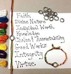 YW Values Bracelet tutorial - sweet and simple - 30 minute project (Girls camp? Girls Camp Activities, Mutual Activities, Young Women Activities, Camping Activities, Camping Crafts, Church Activities, Therapy Activities, Young Women Values, Young Women Lessons