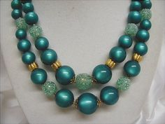 Vivid Teal Beaded Necklace Original STAR tag by JBPacrat on Etsy, $16.00