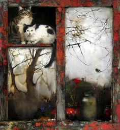 Cat in the window painting. Summer Is Gone  (Maria Chepeleva).  Ceci n'est pas une photo, mais une peinture...