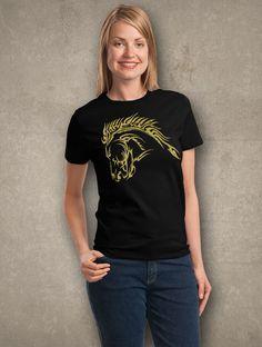 Gold Glitter Fierce Tribal Art Horse Head T-shirt