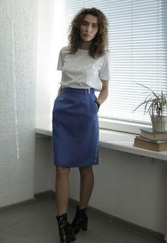 Vintage+80's+Midi+Blue+High+Waisted+Skirt