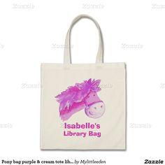 Pony bag kids named purple & cream tote library bag. Ideal for school or library trips. © art and design by www.mylittleeden.com #ponybag #librarybag #kidslibrarybag