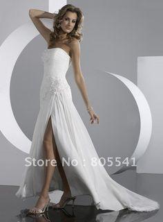 Beading Chiffon High Low Design Wedding Dresses