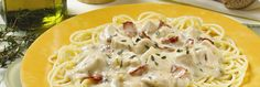 Classic Chicken Carbonara combines savoury bacon pieces with a rich, creamy sauce made with CAMPBELL'S® Condensed Low Fat Cream of Mushroom Soup. Campbell's Cream Of Chicken, Sauce For Chicken, Leftover Chicken Recipes, Chicken Soup Recipes, Cabonara Recipes, Creamy Chicken Carbonara, Food Network Recipes, Cooking Recipes, Mushroom Soup Recipes