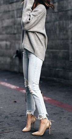 #winter #outfits gray sweater; blue distressed jeans