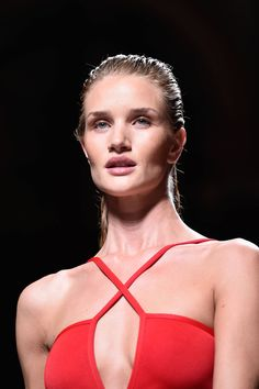 Rosie Huntington-Whiteley toughened up on the Balmain runway in Paris where the handsome hair trend continued. This proves the slicked-back wet-look trend looks set to stay – as does barefaced beauty.   -Cosmopolitan.co.uk