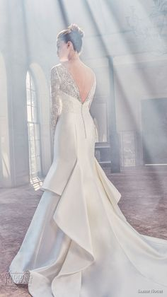 sareh nouri spring 2019 bridal long sleeves illusion bateau semi sweetheart neckline heavily embellised bodice mermaid wedding dress v back chapel train (6) bv