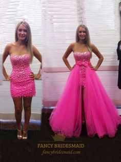 Cheap 2 piece prom dresses, Buy Quality prom dresses directly from China 2 piece prom Suppliers: 2 Pieces Prom Dresses Hotpink Removable Skirt Diamonds Bow Tulle Detachable Girls Party Gowns vestidos de fiesta Custom Size Sweet Sixteen Dresses, Sweet 16 Dresses, Simple Dresses, Elegant Dresses, Cute Dresses, Fitted Prom Dresses, Strapless Prom Dresses, Homecoming Dresses, Prom Dreses