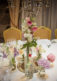 pink and purple wedding table decor by Eden Photography at Ballymagarvey Village