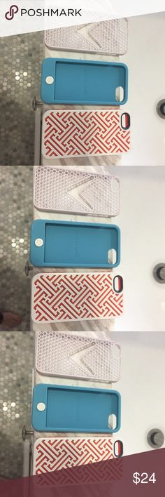 THREE IPHONE 5s phone cases The blue rubber can go inside the shell of the white one with the orange. They are interchangeable Accessories Phone Cases