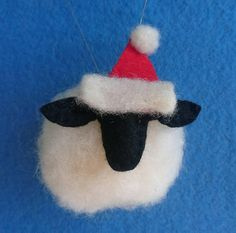 7af171b932369 Set of 4 Needle felted Santa sheep Christmas tree ornaments   christmas  tree decorations