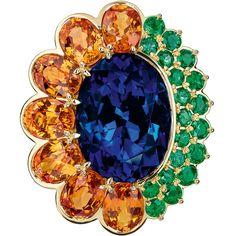 """DIOR. """"Dior Granville Tanzanite"""" ring - 750/1000 yellow gold, diamonds, tanzanite, spessartite garnets and emeralds. #DIOR #DIORGranville #DIORJewelry"""