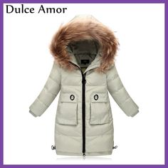 Dulce Amor Fashion Winter Children Down Jackets Coat Fur Hooded Girls Parkas Thick Duck Down Jacket Outerwear -30 Degree Clothes
