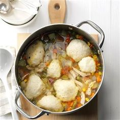 Turkey & Dumpling Soup Recipe -To show some love at a family gathering, I fill a stockpot with this rich turkey soup brimming with veggies, potatoes and dumplings. —Lea Lidel, Leander, Texas