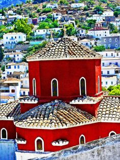 Who said they were all white and blue? Red church in Hydra