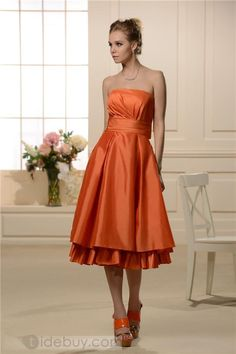 Chic A-line/Princess Strapless Sleeveless Tea-Length Bridesmaid Dress
