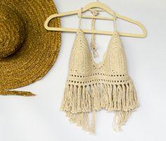 Crochet Festival Fringe Top in Ecru Halter Crop Top