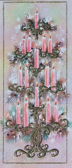 Vintage Unused Mid Century Christmas Card Pink Candelabra Candles Gold Glitter | eBay