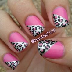 Love the edgy cheetah nails with a girly pink color is a great way to do your nails.