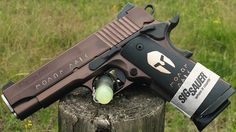 """Sig Sauer 1911 Carry Spartan .45ACP Pistol 4.25"""" Oil rubbed bronze nitron finish, with 24k gold inlay. Hogue Spartan Molon Labe Grips, and night sights. 4.25"""" Barrel."""