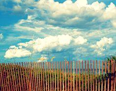 Beach Home Decor Photography - Sunny South Florida Day - Picket Fence, Bright Blue Sky, Calm Ocean Horizon - Sunny Day.