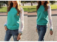Women Tops Blouses: New Fashion Women Long Sleeve Shirt Casual Lace Blouse Loose Cotton Tops T Shirt -> BUY IT NOW ONLY: $0.01 on eBay!