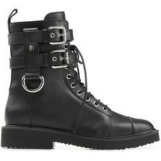 Giuseppe Zanotti Leather Combat Boots ($1,285) ❤ liked on Polyvore featuring shoes, boots, ankle booties, lace up booties, leather booties, black booties, black military boots and leather lace up booties