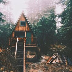 A-frame cabin in the woods A Frame Cabin, A Frame House, Cabin In The Woods, Boho Home, Cabins And Cottages, Log Cabins, Adventure Awaits, Little Houses, The Great Outdoors