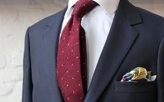 burgundy, yellow Poszetka Tie