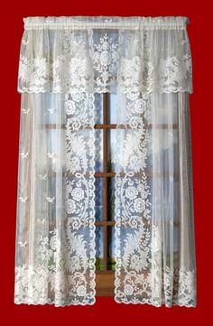 Striking pattern of Lace draperies showing a very attractive open design.  An 84 inch Panel is $53.95.