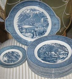 Blue Currier and Ives dishes My grandma had these and now I have them. Love them!