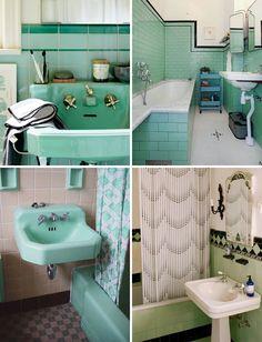 Minty-fresh, seafoam-green bathrooms!