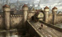 Dharon capitale di Roven Fantasy city Fantasy landscape Sci fi concept art