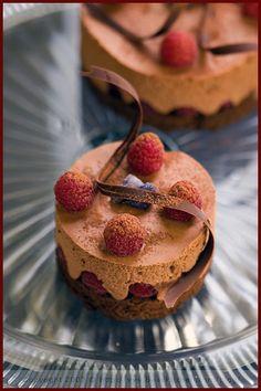 Falling for Chocolate, once more — Faiblesse pour le chocolat, encore une fois Jello Recipes, Bakery Recipes, Dessert Recipes, Mini Desserts, Chocolate Desserts, Just Desserts, Fancy Cakes, Mini Cakes, Raspberry Cake