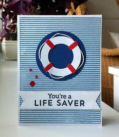 Card nautical - Karte maritim - kort nautisk maritimt - redningskrans livredder - Lifesaver - MFT Dienamics die - IO stribes  background stamp - MFT Go overboard stamp, Let´s get nautical die