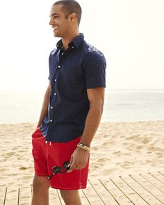 American Button-down, Solid Swim Trunk