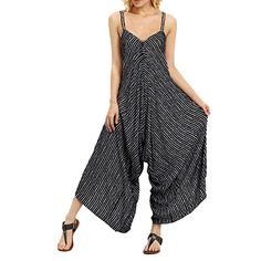 manadlian Femme Salopette Casual Pants Large Ample Harem Sarouel Pantalon Combinaison Coton et Lin Jumpsuit Chic Combishort et Poches Playsuit Overalls Rompers