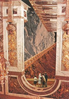 Inner Cities: Hall of the Mountain King by Jesse Treece Surreal Collage, Surreal Art, Collages, Collage Artwork, Photomontage, Natur Wallpaper, Arte Sci Fi, King Art, A Level Art