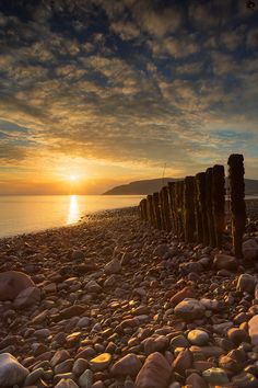 """heaven-ly-mind: """"Porlock weir beach sunrise by Rashed Sabzali on Sunset Pictures, Cool Pictures, Harbor Village, Sunset Lover, Secret Places, Beach Walk, British Isles, Somerset, National Parks"""
