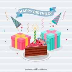 Cake piece background and gifts #Free #Vector   #Background #Birthday #Invitation #Happybirthday #Party #Gift #Box #Cake #Giftbox #Anniversary #Celebration #Happy #Confetti #Present #Birthdayinvitation #Backdrop #Candle #Gifts #Birthdaycake #Partyinvitation