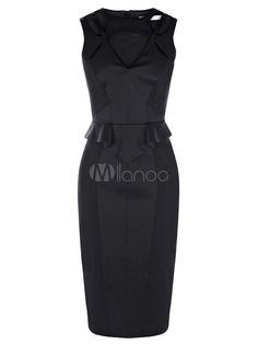Black Sleeveless Ruffles Bodycon Dress For Woman - Milanoo.com
