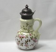 Antique Hand Painted Porcelain Syrup Pitcher - Apple Blossoms - Silver Plate Top