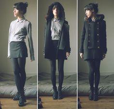 Sandro Coat, American Apparel Pinpoint Oxford Round Collar Short Sleeve Button Up Shirt, The Kooples Sweater, Interlock Mini Skirt